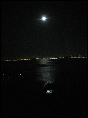 Snapshot of full moon on San Francisco Bay