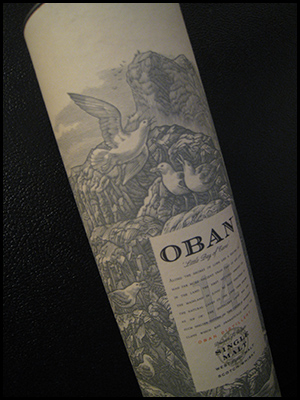 Photo of distinctive Oban packaging, depicting gulls and caves